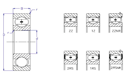 Ball Bearings - Radial Deep Groove - Reference Diagram