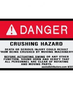 "Crushing Hazard Safety Decal 3"" x 5"" - W7377240 - Vinyl Decals - AAxis Distributors"
