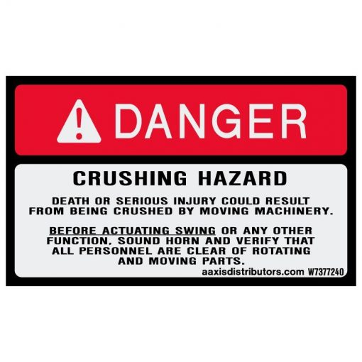 "Crushing Hazard Safety Decal 3"" x 5"" - W7377240 - Vinyl Decals - AAxis Distributors"