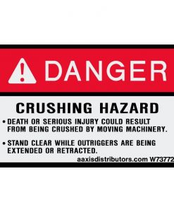 "Crushing Hazard Safety Decal 3"" x 5"" - W7377241 - Vinyl Decals - AAxis Distributors"