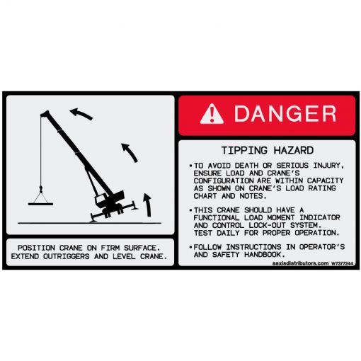 "Tipping Hazard Safety Decal 5.5"" x 11"" - W7377244 - Vinyl Decals - AAxis Distributors"