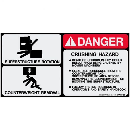 "Counterweight Rotation Safety Decal 5.5"" x 11"" - W7378180 - Vinyl Decals - AAxis Distributors"