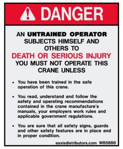 Untrained Operator 5x4 - W85888 - Safety Decals - AAxis Distributors
