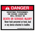 Hoisting Personnel - W85888 - Safety Decals - AAxis Distributors