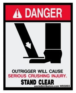Outriggers Stand Clear Safety Decal 5x4 - W85893 - Safety Decals - AAxis Distributors