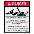 Rotating Driveline Safety Decal 4x6.5 - W85897 - Vinyl Decals - AAxis Distributors